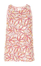 Peter Pilotto Sleeveless Embroidered Leaf Racer Top