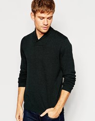 Asos Shawl Neck Jumper In Dark Green Cotton Green And Black Twist