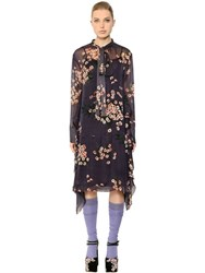 Rochas Bow Collar Floral Printed Chiffon Dress