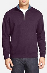 Tommy Bahama Men's 'Flip Side' Reversible Quarter Zip Twill Pullover Rumberry Heather