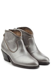 Fiorentini And Baker Metallic Leather Ankle Boots Silver