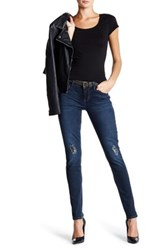 7 For All Mankind Skinny Faux Leather Patch Jean Blue