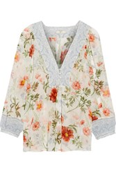 Joie Amatite Printed Silk Blouse Ecru