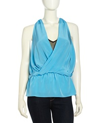 Madison Marcus Layered Surplice Silk Tank Sky Blue Black