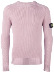 Stone Island Ribbed Crew Neck Jumper Pink And Purple