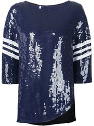 Tibi Sequin Baseball Shirt Blue