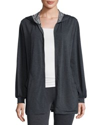 Max Studio Soft Knit Terry Zip Front Jacket Charcoal N