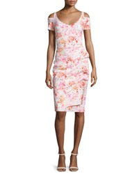 La Petite Robe Di Chiara Boni Julia Cold Shoulder Ruched Printed Cocktail Sheath Dress Roses