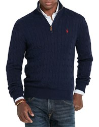 Polo Ralph Lauren Cable Knit Mockneck Sweater Hunter Navy