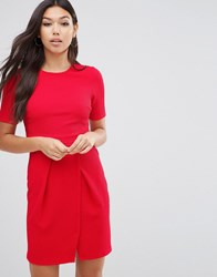 Asos Double Layer Textured Mini Wiggle Dress Bright Red