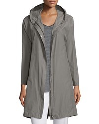 Eileen Fisher Hooded Weather Resistant Long Jacket Women's Smoke