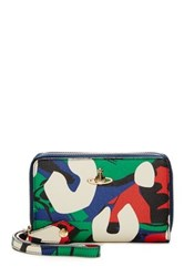 Vivienne Westwood Leather Zip Wallet With Mobile Phone Holder Green