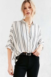 Silence And Noise Silence Noise Bombero Striped Button Down Shirt Neutral Multi