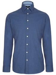 Hackett London Plain Melange Shirt Navy