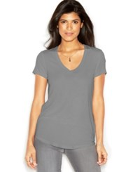 Rachel Rachel Roy Short Sleeve V Neck Solid Tee Heather Gray