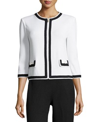 St. John Contrast Trim Zip Front Jacket White Black