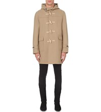 Saint Laurent Hooded Wool Duffle Coat Camel