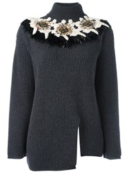 Antonio Marras Embroidered Feather Ribbed Jumper Grey
