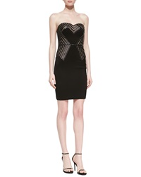 Aidan By Aidan Mattox Strapless Bustier Dress With Nude Inset Black