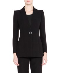 Giorgio Armani Notch Lapel Silk Jacket Black