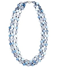Cc Blue 3 Row Shell And Facet Necklace