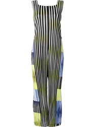 Issey Miyake Pleats Please By Sleeveless Striped Jumpsuit Black