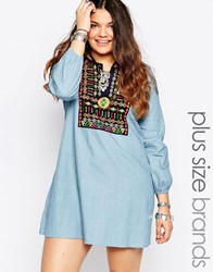 Alice And You Embroidered Denim Dress Blue