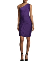Halston One Shoulder Ruched Cocktail Dress Purple