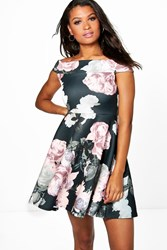 Boohoo Floral Print Off The Shoulder Skater Dress Multi