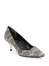 Kenneth Cole Pearl Snake Embossed Leather Point Toe Kitten Heel Pumps Black White
