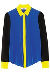 Prabal Gurung Color Block Silk Crepe De Chine Blouse Blue