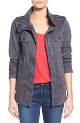 Women's Press Lightweight Stretch Cotton Military Jacket Dark Grey