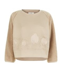 Adidas By Stella Mccartney Cropped Teddy Sweatshirt Beige