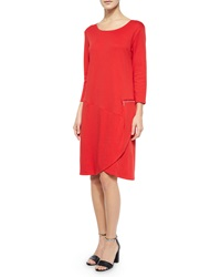 Joan Vass 3 4 Sleeve Shift Dress W Zipper Detail