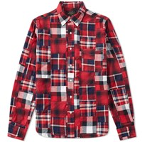 Beams Plus Button Down Patchwork Check Shirt Red