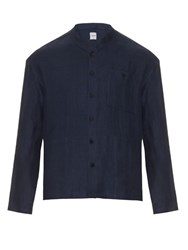 Fanmail Stand Collar Linen Jacket Navy