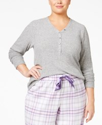 Alfani Plus Size Ribbed Henley Pajama Top Only At Macy's Grey