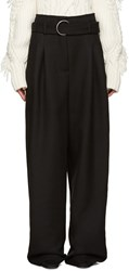 Off White Black Wool Belted Trousers