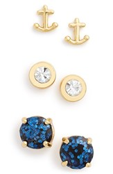 Women's Kate Spade New York 'Navy Glitter' Anchor And Round Stud Earrings Set Of 3