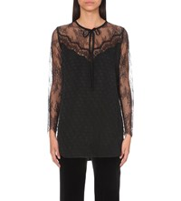 Sandro Carry Lace And Woven Blouse Noir