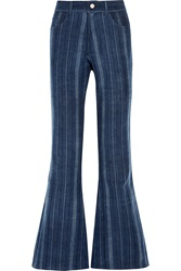 The Elder Statesman Striped High Rise Flared Jeans
