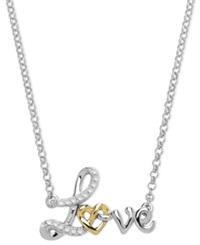 Macy's 14K Gold And Sterling Silver Necklace Diamond Accent Love Pendant