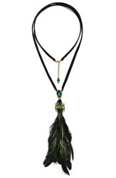 Suzanna Dai Women's Macapa Genuine Feather Tassel Necklace Olive Teal