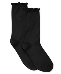 Hue Women's Lace Trim Socks Black