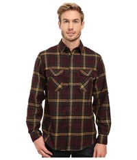 Woolrich Hikers Trail Flannel Shirt Modern Fit Dark Plum Men's Clothing Multi