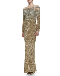 Pamella Roland Sheer Inset Ombre Sequined Gown