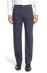 Men's Brax Flat Front Stretch Cotton Trousers Navy