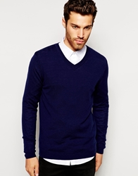 Asos Merino V Neck Jumper Navy