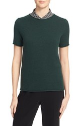 Theory Women's 'Tolleree' Short Sleeve Cashmere Sweater Hunter Green