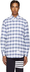Thom Browne White And Navy Classic Check Shirt